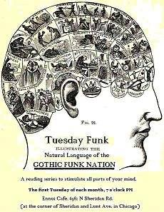 The poster from the very first Tuesday Funk reading, on April 1st, 2008.  That reading was organized by Hallie Palladino, Reinhardt Suarez, and myself.  Next week, the 100th Tuesday Funk reading will take place, hosted by Andrew Huff and Eden Robbins.  We will be joined by William Shunn, and so the readers this month will be all of the hosts of Tuesday Funk over the years.